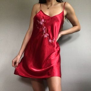 Vintage Satin Red Embroidery Slip Dress Nightgown
